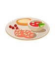 Tasty snack with bread and soum vector image