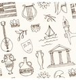 Hand drawn greece travel seamless pattern vector image