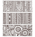 Set of unique seamless pattern and borders ethnic vector image