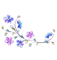Horizontal white background with blue flowers vector image vector image