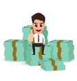 businessman sitting on money stacks vector image
