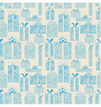 Seamless gift boxes pattern on beige background vector image
