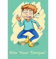 Bite your tongue idiom vector image