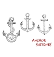 Heraldic ship anchors sketch icons vector image
