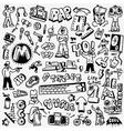 rap hip hop graffiti - doodles set vector image