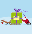 Santa with deer move a heavy gift vector image