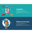Warehouse flat banners set of logistics packing vector image