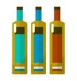 Wine bottle flat icons set vector image