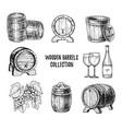 wooden wine barrel hand drawn set vector image