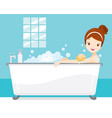 young woman bathing in bathtub in bathroom vector image