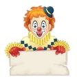 Cartoon funny clown with blank board vector image
