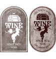 set of labels for wine with barrel and grapes vector image vector image