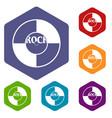 vinyl icons set hexagon vector image
