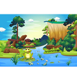 A frog playing at the river near the cliff vector image vector image