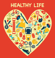 Healthy Lifestyle Background in Heart shape - Illu vector image