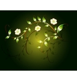 Wavy pattern of beautiful green flowers on a dark vector image