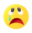 Crying face emoticon with tear icon cartoon style vector image