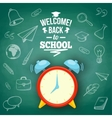 Alarm clock and greeting text vector image