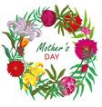 floral round frame card design mother day vector image