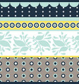 folk floral gray and blue seamless pattern vector image