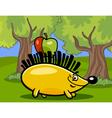 hedgehog with apple cartoon vector image