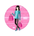 Icon Sale Woman with Purchase vector image