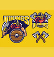 viking mascot set with axes amd shield vector image
