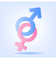 Pink and blue symbols of Mars and Venus vector image vector image