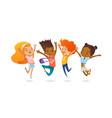 happy school multiracial children joyfully jumping vector image vector image
