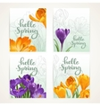 Four vertical banners Hello spring with yellow and vector image