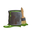 Bucket of green paint and molar brush vector image