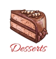Chocolate cake sketch icon Patisserie emblem vector image