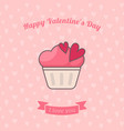 cupcake decorated with hearts vector image