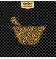 Gold glitter icon of mortar isolated on vector image