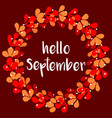 hello september floral wreath autumn card vector image