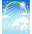 Rainbow clouds and bubbles vector image