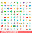 100 navigation icons set cartoon style vector image