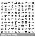 100 rafting icons set simple style vector image
