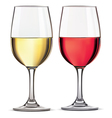 Glass of red and whine wine vector image vector image