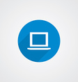 blue flat laptop icon vector image