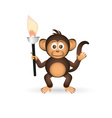 cute chimpanzee little monkey holding flame torch vector image