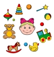 Childish toys and little girl vector image