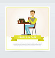 smiling man sitting at the table with laptop and vector image