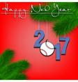 Baseball ball and 2017 on a Christmas tree branch vector image