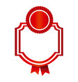 red emblem with ribbon decoration icon vector image vector image