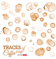 Traces of coffee cup isolated on white background vector image