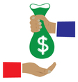 Bag of money in a hand vector image