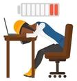 Man sleeping at workplace vector image