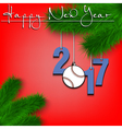 Baseball ball and 2017 on a Christmas tree branch vector image