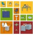 Beauty spa furniture icon set flat design vector image